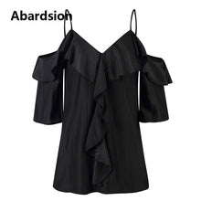 Load image into Gallery viewer, Abardsion Off Shoulder Top Blouse Women Half Sleeve Spaghetti Strap Ruffle