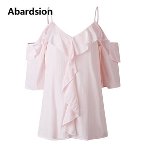 Abardsion Off Shoulder Top Blouse Women Half Sleeve Spaghetti Strap Ruffle