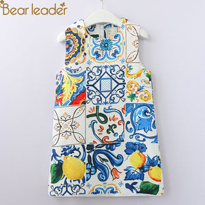 Bear Leader Girls Dresses 2019 Europen And American Style Kids Sleeveless Floral