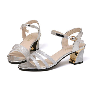 2019 Fashion Open Toe Woman Summer Sandals Shoes Silver Gold Pink