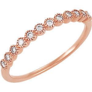14k Gold & Diamond Vintage Style Anniversary Band
