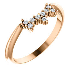 14k Gold & Diamond Star Contour Band
