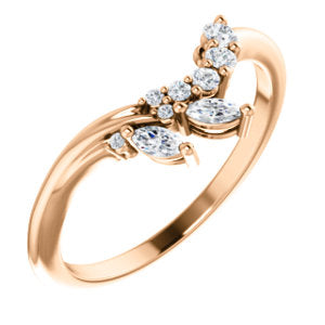 14k Gold & Diamond Marquise Spray Band