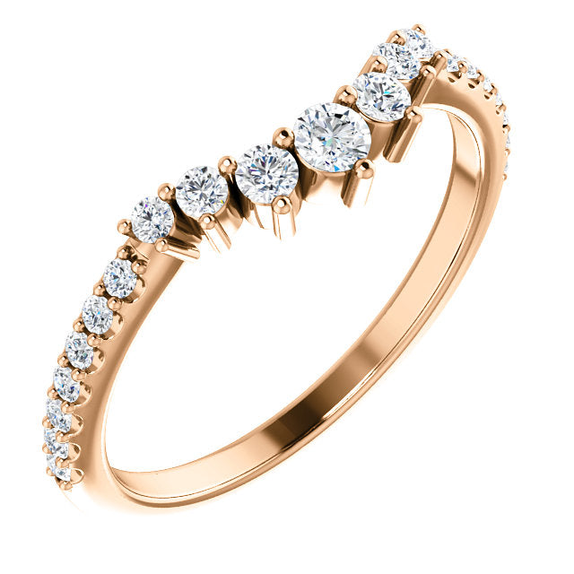 14k Gold & Tapered Diamond Contour Band