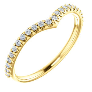 14k Gold & Diamond Slight Chevron Band