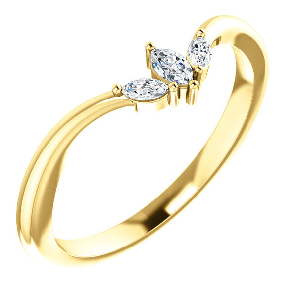 14k Gold & Marquise Diamond Accent Band