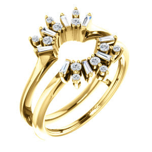 14k Gold & Diamond Art Deco Baguette Ring Guard