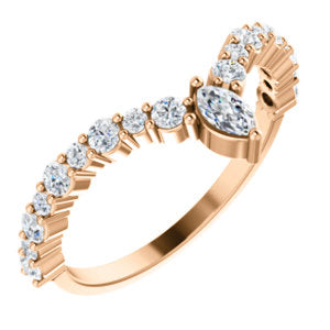 "14k Gold & Marquise Diamond ""V"" Ring"