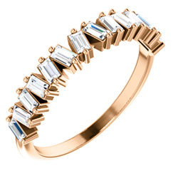 14k Gold & Baguette Diamond Staggered Band