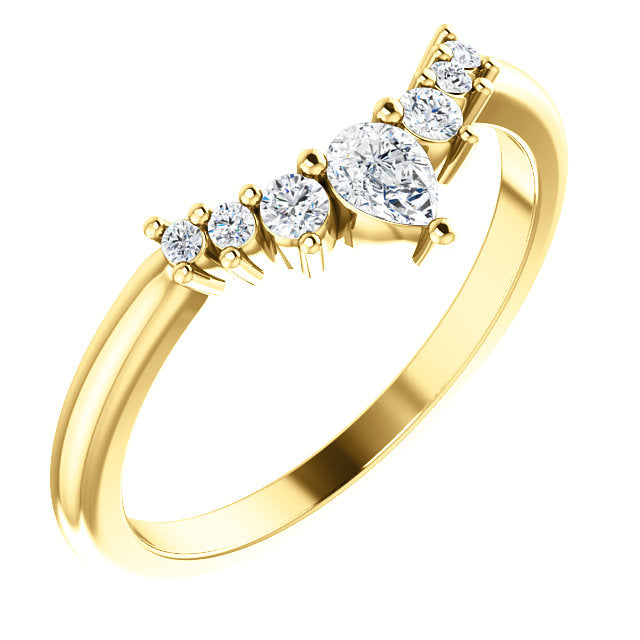 14k Gold & Diamond Fancy Contour Band