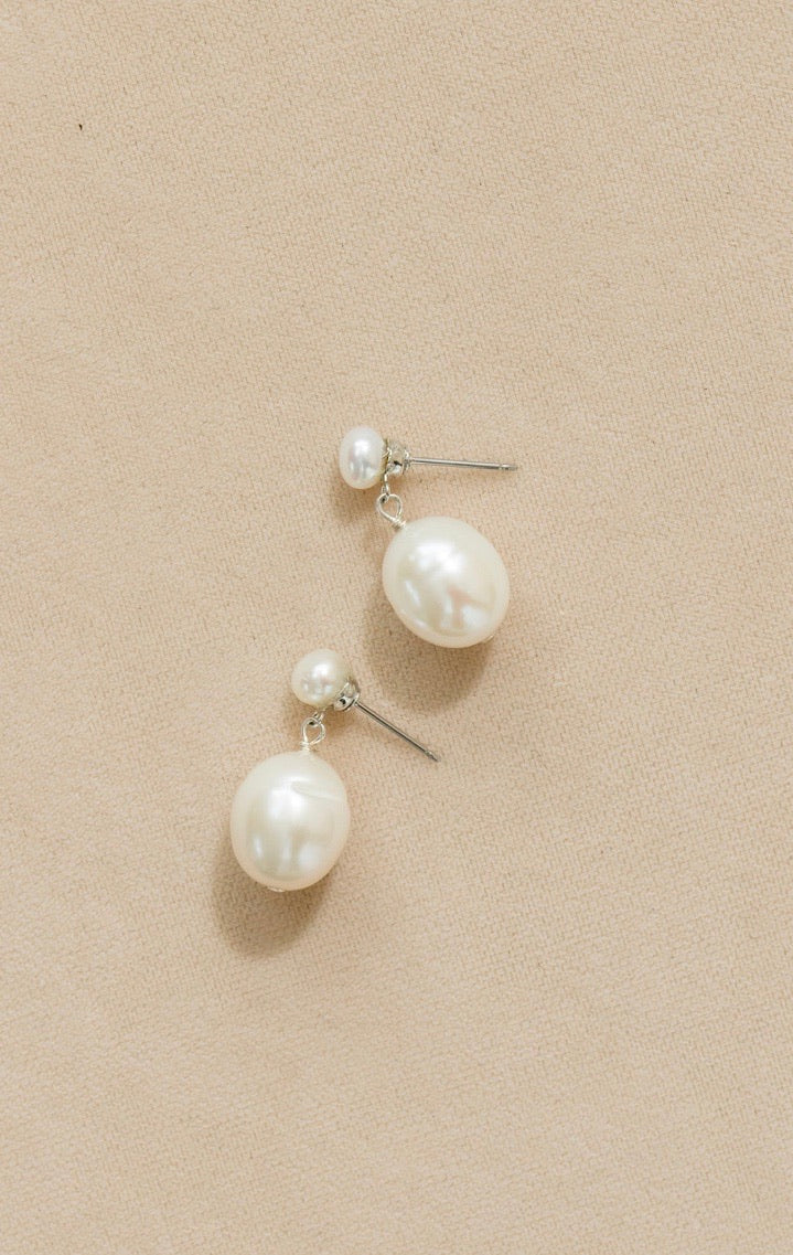 Double Drop Pearl Earring
