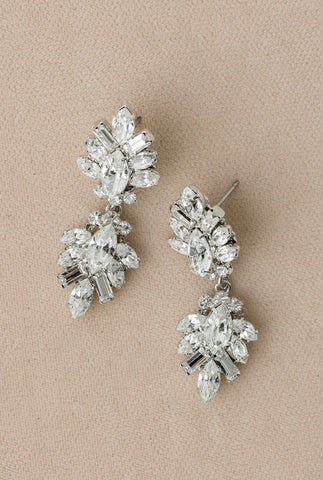 Crystal Double Drop Deco Earrings