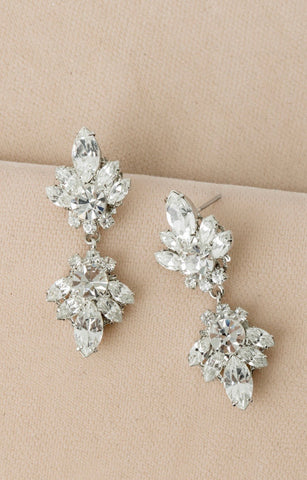 Crystal Double Drop Marquise Earrings