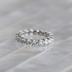 14kt Gold & Moissanite Trellis Shared-Prong Eternity Band