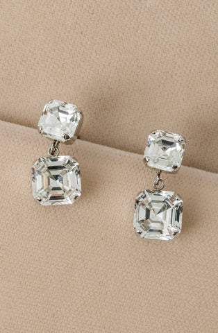 Asscher Cut Double Drop Earrings