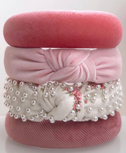 Lele Sadoughi / LoveShackFancy Beaded & Knotted French Cream Headband