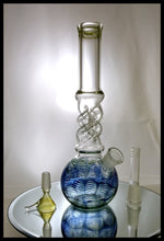 "Load image into Gallery viewer, 10"" Blue and Green - Twist neck Bong - The Bong Czar Smokeshop & Heady Czar Glass Gallery"