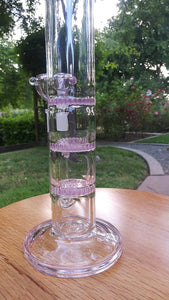 "10.5"" Pink and Clear - 3 Layer Honey Comb Perc - The Bong Czar Shop & Heady Czar Glass Gallery"