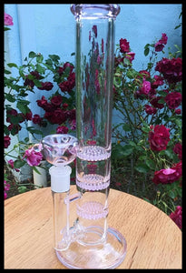 Pink and Clear Bong - 3 Layer Honey Comb Perc - The Bong Czar Headshop