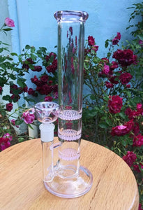 "10.5"" Pink and Clear Bong - 3 Layer Honey Comb Perc - The Bong Czar"