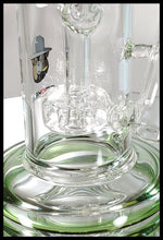 "Load image into Gallery viewer, 13"" Double Cyclone Bong Clear with Green neck - The Bong Czar Smokeshop & Heady Czar Glass Gallery"