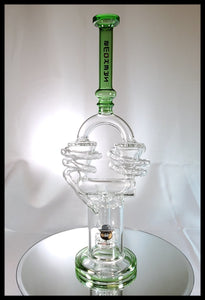 "13"" Double Cyclone Bong Clear with Green neck - The Bong Czar Smokeshop & Heady Czar Glass Gallery"