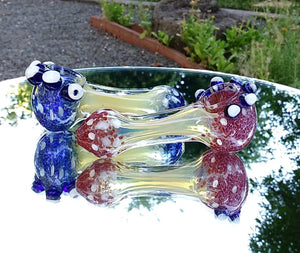 "4"" colored Glass with white Bumps - The Bong Czar Shop & Heady Czar Glass Gallery"