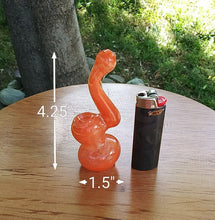 "Load image into Gallery viewer, 4.25"" Tangerine Mini Bubbler - The Bong Czar Shop & Heady Czar Glass Gallery"