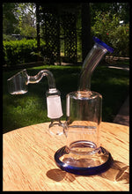 "Load image into Gallery viewer, 5 1/2"" Blue and Clear Bent neck Dab Rig - The Bong Czar"