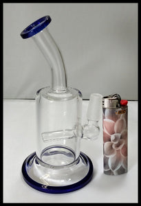"5 1/2"" Blue and Clear Bent neck Dab Rig - The Bong Czar online Smokeshop"