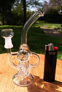 "5"" Mini Double Barrel Glass Recycler Dab Rig - The Bong Czar"