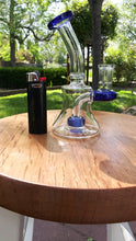 "Load image into Gallery viewer, 6 1/2 "" Blue and Clear Bent Neck Hanger Banger with Donut perc - The Bong Czar Shop & Heady Czar Glass Gallery"