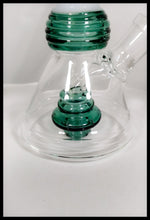 "Load image into Gallery viewer, 6"" Clear White and Green beaker bong - The Bong Czar Smokeshop & Heady Czar Glass Gallery"