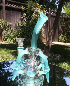 "6b Glass - 8"" Turquoise Blue Flying Glass Lotus - The Bong Czar Shop & Heady Czar Glass Gallery"