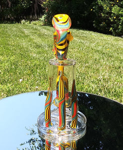 "6b Glass - 8"" Wig Wag Yellow/ Blue/ Red/ Black Swirl with Sherlock mouth Piece - The Bong Czar Shop & Heady Czar Glass Gallery"