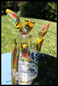 "6b Glass - 8"" Wig Wag Yellow/ Blue/ Red/ Black Swirl with Sherlock mouth Piece Bong - The Bong Czar"