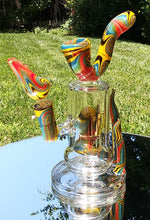"Load image into Gallery viewer, 6b Glass - 8"" Wig Wag Yellow/ Blue/ Red/ Black Swirl with Sherlock mouth Piece Bong - The Bong Czar"