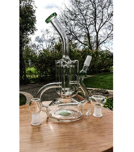 "7"" - 4 Tube Glass Recycler (with Inline Per) Bong/ Dab Rig - The Bong Czar Shop & Heady Czar Glass Gallery"