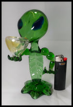 "Load image into Gallery viewer, 7"" Green Glass Alien Pipe - The Bong Czar online Smokeshop"