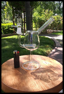 "8 1/2"" Clear Wine Glass with Inline Perc- sold with bowl - The Bong Czar online Head Shop"