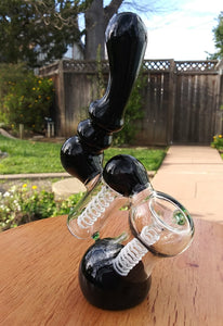 "8"" Black and White dual chamber Bubbler - The Bong Czar Shop & Heady Czar Glass Gallery"