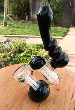 "Load image into Gallery viewer, 8"" Black and White dual chamber Bubbler Pipe - The Bong Czar"