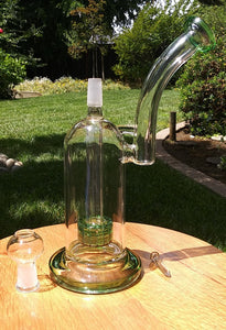 "9.5"" Green and Clear With Matrix Perc - The Bong Czar"