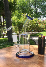"Load image into Gallery viewer, 5 1/2""  Blue and Clear Bent neck Dab Rig"