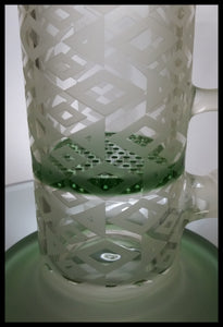 "Sand Blasted - 8"" honey comb perc Green and Clear Bong/Rig"