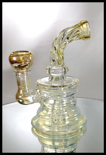 Bent Twist Neck Gold fumed Bong - The Bong Czar Smokeshop & Heady Czar Glass Gallery