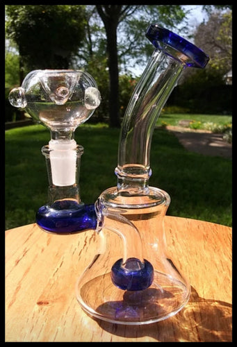 Blue and Clear Bent Neck Hanger Banger Bong with Donut perc 6.5