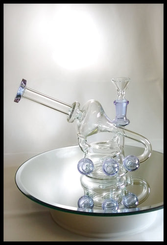 Bluish/Purple and clear Glass Recycler Bong - The Bong Czar Smokeshop & Heady Czar Glass Gallery