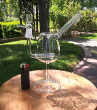 "Load image into Gallery viewer, CLICK ON ITEM AND REQUEST EMAIL FOR WHEN IT'S BACK IN STOCK - 8 1/2"" Clear Wine Glass with Inline Perc- sold with bowl - The Bong Czar Shop & Heady Czar Glass Gallery"