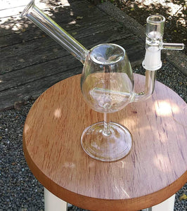 "CLICK ON ITEM AND REQUEST EMAIL FOR WHEN IT'S BACK IN STOCK - 8 1/2"" Clear Wine Glass with Inline Perc- sold with bowl - The Bong Czar Shop & Heady Czar Glass Gallery"